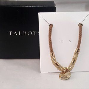TALBOTS GOLD PLATED TAN ROPE DISK CHARM BRACELET